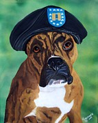 Boxer Dog Paintings - Military Boxer by Debbie LaFrance