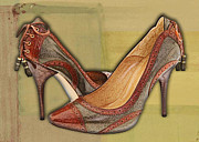 Stilettos Paintings - Military Camouflage Stilettos with Tassels by Elaine Plesser