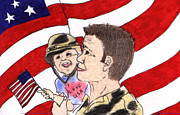 Us Flag Drawings - Military homecoming by Vonda Lawson-Rosa