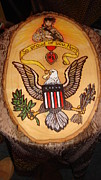 Eagle Pyrography - Military Mom Pride by Dakota Sage