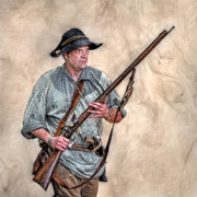 French And Indian War Prints - Militia Ranger Scout Portrait Print by Randy Steele
