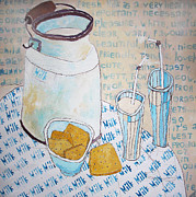 Milk Drawings - Milk and cookies by Evgeniya Zueva
