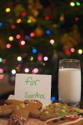 Santa Clause Posters - Milk And Cookies For Santa Poster by Carson Ganci