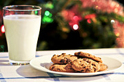 Winter Night Posters - Milk and cookies for Santa Poster by Elena Elisseeva