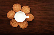 Wood Grain Prints - Milk And Cookies On Table Print by Elias Kordelakos Photography