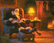 Santa Painting Metal Prints - Milk and Cookiezzzzz Metal Print by Greg Olsen