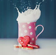Food And Drink Art - Milk And Heart Shape Cookies by Julia Davila-Lampe