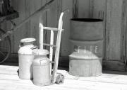 Cans Photos - Milk Cans and Fire Barrel by Troy Montemayor