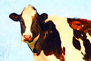 Farm Animals Digital Art Posters - Milk Cow . Photoart Poster by Wingsdomain Art and Photography