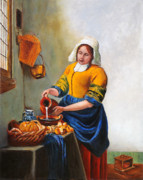 Milk Painting Posters - Milk Maid After Vermeer Poster by Enzie Shahmiri