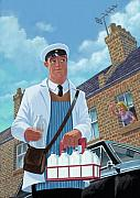 Milkman Framed Prints - Milkman On Daily Milk Delivery In Urban Old Street Framed Print by Martin Davey