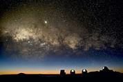 Hawai Prints - Milky Way And Observatories, Hawaii Print by David Nunuk