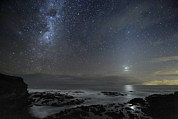 Moonlit Night Photo Prints - Milky Way Over Cape Schanck, Australia Print by Alex Cherney, Terrastro.com