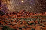 Charles Warren Posters - Milky Way Rising over the Valley of Fire Poster by Charles Warren