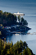 Bay Photo Posters - MILL BAY ferry passing sandy beach rd vancouver island BC canada Poster by Andy Smy