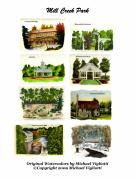 Covered Bridge Drawings Posters - Mill Creek Park Collage Poster by Michael Vigliotti
