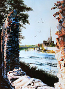 Cambridge Painting Prints - Mill Race Look-out Print by Hanne Lore Koehler