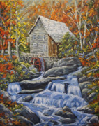 Original  By Artist Paintings - Mill Scene 03 by Richard T Pranke
