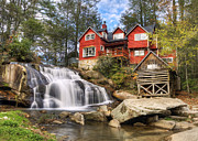 Grist Mill Posters - Mill Shoals Falls - WNC Blue Ridge Waterfalls Poster by Dave Allen
