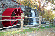 Wayside Inn Grist Mill Prints - Mill Wheel of the Grist Mill Print by John Small