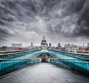 Morning Posters - Millenium Bridge London Poster by Martin Williams