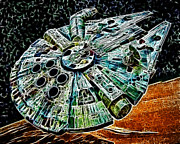 Science Fiction Art Prints - Millenium Falcon Print by Paul Ward