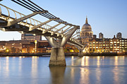 Architectural Detail Framed Prints - Millennium Bridge and St Pauls at Sunset Framed Print by John Harper