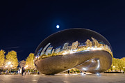 Moon Photo Framed Prints - Millennium Park - Chicago IL Framed Print by Drew Castelhano