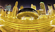 Chicago Digital Art Metal Prints - Millennium Park Bean Metal Print by Donald Schwartz