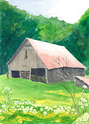 Farm Buildings Painting Originals - Millers Barn by Joel Deutsch