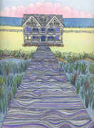 Hotel Drawings Prints - Millers Dream with Wetlands Print by Harriet Emerson