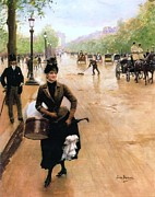 Smile Painting Framed Prints - Milliner on the Champs Elysees Framed Print by Pg Reproductions