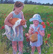 Poppies Field Paintings - Milly and Gracie in poppy field by Haidee-Jo Summers
