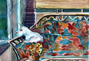 White Terrier Drawings - Milly has a Rainy Day by Mindy Newman