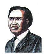 Prime Drawings Framed Prints - Milton Apolo Obote Framed Print by Emmanuel Baliyanga