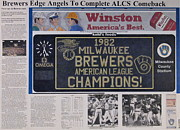 Baseball Stadiums Mixed Media Posters - Milwaukee Brewers 1982 AL Pennant Poster by Marc Yench