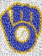 Mlb Mixed Media - Milwaukee Brewers Mosaic by Paul Van Scott