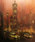 Night Scenes Painting Originals - Milwaukee City Hall by Tom Shropshire