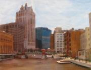 Downtown Mixed Media Originals - Milwaukee River View by Anita Burgermeister