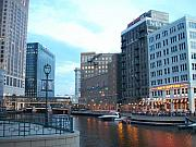 Milwaukee Prints - Milwaukee River walk Print by Anita Burgermeister