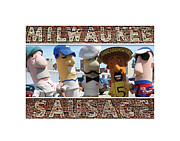 Milwaukee Brewers Posters - Milwaukee Sausages Poster by Geoff Strehlow
