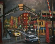 City Night Scene Paintings - Milwaukees Historic Third Ward by Tom Shropshire