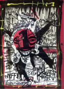 Outsider Mixed Media Prints - Mime Troop Print by Robert Wolverton Jr