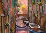 Orange Sunset Posters - Mimosa Sui Canali Poster by Guido Borelli
