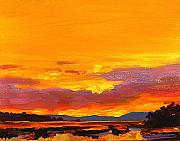 Clouds Sunset Painting Prints - Mimosa Sunrise Print by Mike Savlen