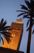 Moroccan Photos - Minaret Of Koutoubia Mosque At Night by Axiom Photographic