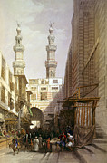 Roberts Drawings - Minarets and grand entrance of the Metwaleys at Cairo by Munir Alawi
