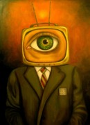 Television Paintings - Mind changer by Leah Saulnier The Painting Maniac