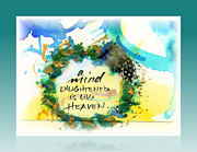 Mixed Media Calligraphic Collage Posters - Mind Enlightened Poster by L Jaye  Bell