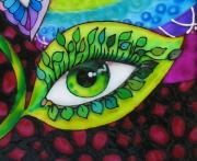 Eyes Glass Art - Mind Eyes Detail by Gabriela Stavar